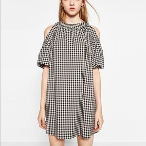 Zara Gingham Open Shoulder Dress